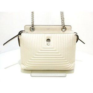 Fendi Quilted Small Dot Com Click Satchel White